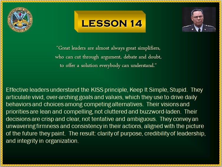 The C4Leader Blog: Colin Powell's Leadership Lessons - 14